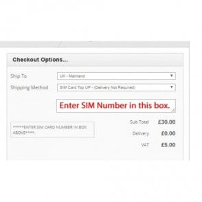 *Enter your SIM No in Box at Checkout* - £50 SIM Card Top Up