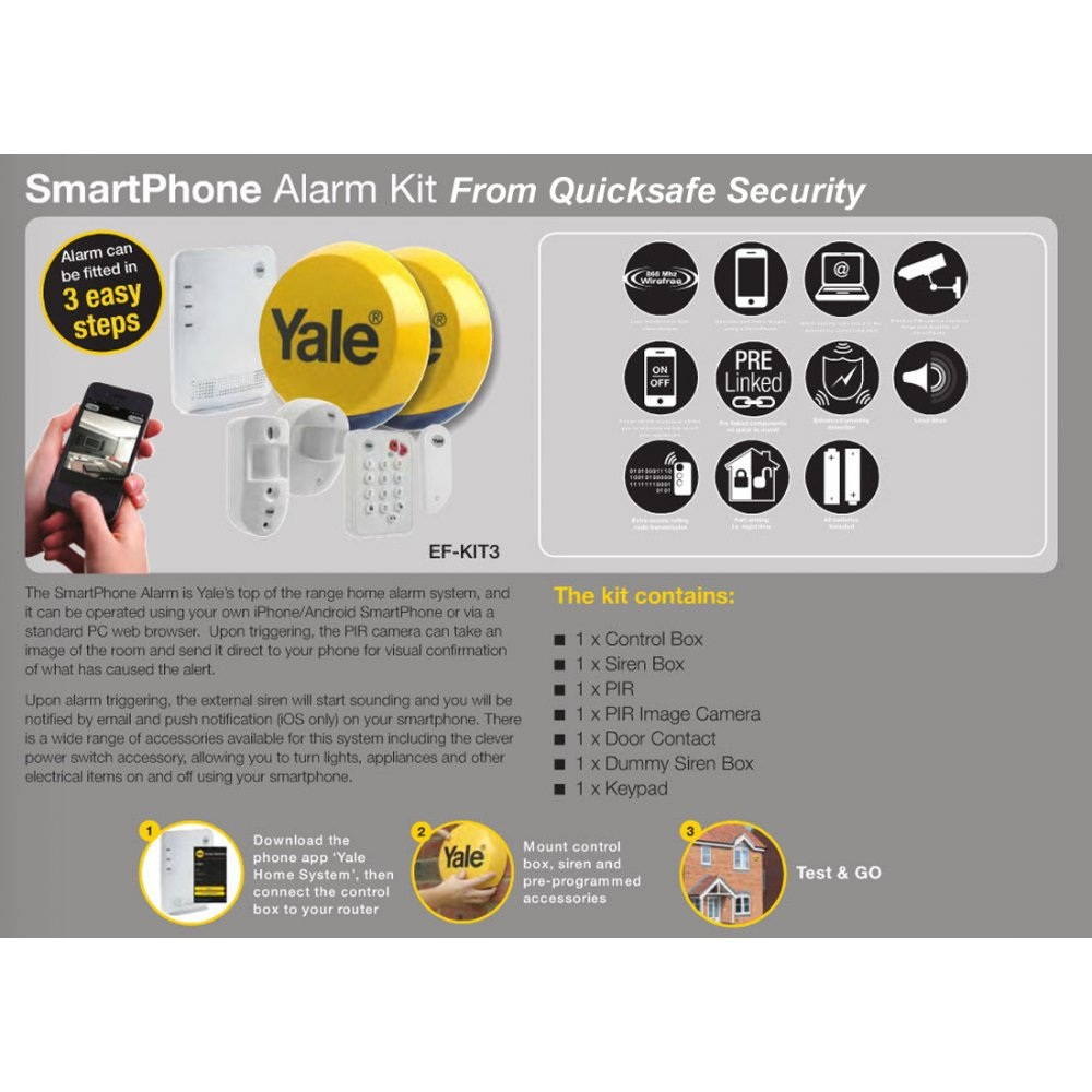 yale alarms yale easy fit smartphone alarm with with. Black Bedroom Furniture Sets. Home Design Ideas